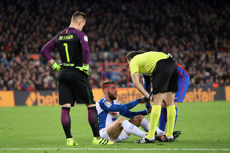 League Santander 2016/2017. Game: 16.<br /> FC Barcelona vs RCD Espanyol: 4-1.<br /> Marc-Andre ter Stegen, David Lopez &amp; Mateu Lahoz.