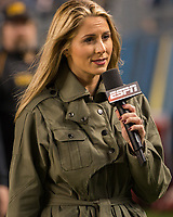 ESPN sideline reporter Laura Rutledge. The Virginia Tech Hokies defeated the Pitt Panthers 39-36 on October 27, 2016 at Heinz Field in Pittsburgh, Pennsylvania.