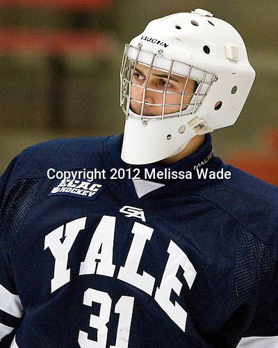 Nick Maricic (Yale - 31) - The Yale University Bulldogs defeated the Harvard University Crimson 5-1 on Saturday, November 3, 2012, at Bright Hockey Center in Boston, Massachusetts.