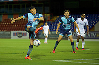 Nick Freeman of Wycombe Wanderers hits the bar with his shot during the Friendly match between Aldershot Town and Wycombe Wanderers at the EBB Stadium, Aldershot, England on 26 July 2016. Photo by Alan  Stanford.