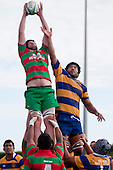 Michael Baird claims lineout ball against Alepini Olosoni. Counties Manukau Premier Club Rugby game between Waiuku and Patumahoe, played at Waiuku on Saturday April 23rd 2011. Patumahoe won 21 - 20 after leading 6 - 0 at halftime.