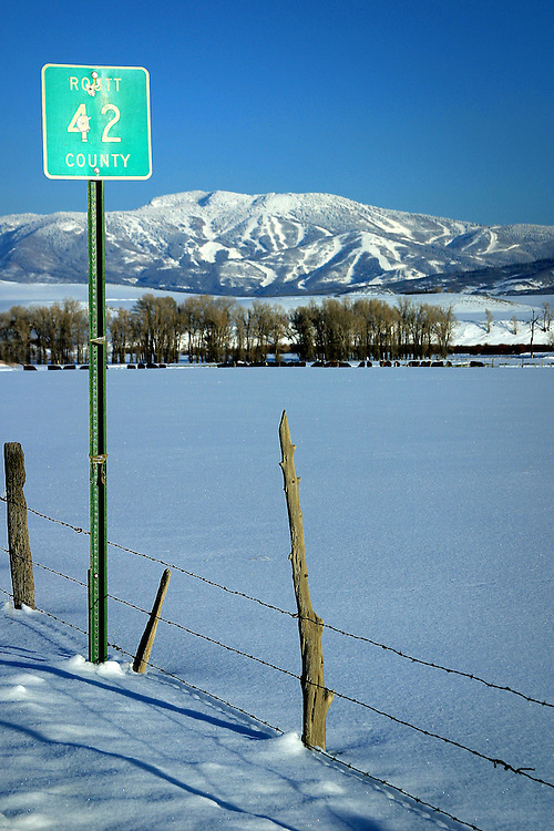 Wintertime on County road 42 in Routt County.