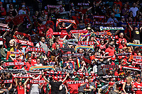 Portland, OR - Saturday July 15, 2017: Thorns fans hold scarves during a regular season National Women's Soccer League (NWSL) match between the Portland Thorns FC and the North Carolina Courage at Providence Park.