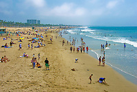 Santa Monica, CA,  Beach,  Ocean, Crowd, Walking, playing, Swimming