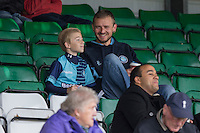Wycombe fans ahead of the Sky Bet League 2 match between Yeovil Town and Wycombe Wanderers at Huish Park, Yeovil, England on 8 October 2016. Photo by Mark  Hawkins / PRiME Media Images.