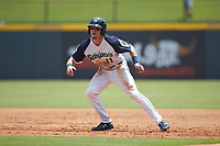 Jack Lopez (1) of the Gwinnett Stripers takes his lead off of first base against the Scranton/Wilkes-Barre RailRiders at Coolray Field on August 18, 2019 in Lawrenceville, Georgia. The RailRiders defeated the Stripers 9-3. (Brian Westerholt/Four Seam Images)