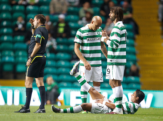 Emilio Izaguirre down and injured