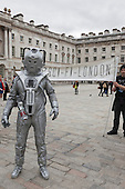 A Sci-fi fand dressed up as a Cyberman. About 100 Science Fiction fans dressed up as their favourite characters and gathered in the courtyard of Somerset House to head off for the 4th Sci-Fi London Annual Costume Parade. The parade was organised by Sci-Fi London 14, the London International Festival of Science Fiction and Fantastic Film. The film festival runs until 4 May 2014.