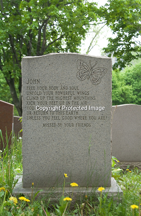"A headstone in Notre-Dame-des-Neiges Cemetery in Montreal, Quebec, Canada belongs to John Laird McCaffrey, who died in 1995 at the age of 54. By forming an acrostic using the first letter of each line, a secret message is revealed: ""FUCK YOU."""