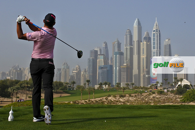 Pablo Larrazabal (ESP) on the 8th tee during Round 2 of the Omega Dubai Desert Classic, Emirates Golf Club, Dubai,  United Arab Emirates. 25/01/2019<br /> Picture: Golffile | Thos Caffrey<br /> <br /> <br /> All photo usage must carry mandatory copyright credit (© Golffile | Thos Caffrey)