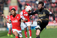 Rotherham United v Nottingham Forest, 16.4.2016<br /> Sky Bet Championship<br /> Picture Shaun Flannery/Trevor Smith Photography<br /> Forest's Danny Fox clears the ball from Rotherham's Grant Ward.