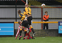 Barry Somers (5) heads the ball in the Huntly v Wigtown & Bladnoch William Hill Scottish Cup 1st Round match, at Christie Park, Huntly on 25.8.12.