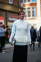 Roopal Patel attends Day 2 of London Fashion Week on Feb 21, 2015 (Photo by Hunter Abrams/Guest of a Guest)