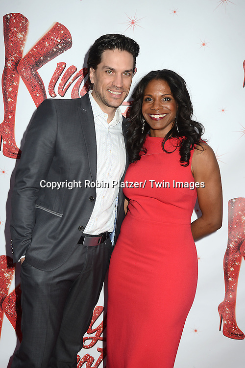 "Will Swenson and wife Audra McDonald arrive at the ""Kinky Boots"" Broadway Opening on April 4, 2013 at The Al Hirschfeld Theatre in New York City. Harvey Fierstein wrote is the Book Writer and Cnydi Lauper is the Composer."