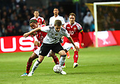 June 6th 2017, Brondby Stadium, in Brondby, Copenhagen, Denmark;  Germany's Matthias Ginter (R) and Yussuf Yurary Poulsen from Denmark in action during the international  match between Denmark and Germany at the Brondby Stadium