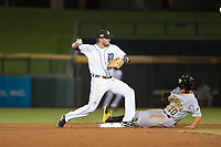 Mesa Solar Sox second baseman Kody Eaves (28), of the Detroit Tigers organization, attempts a double play as Kevin Kramer (10) slides into second base during a game against the Glendale Desert Dogs on October 16, 2017 at Sloan Park in Mesa, Arizona. The Desert Dogs defeated the Solar Sox 2-0.  (Zachary Lucy/Four Seam Images)