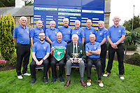 Limerick Golf Club Team with team captain Brien Morris holding the winners pennant and trophy pictured with Jim McGovern President GUI after the All Ireland Four Ball Interclub Final, Roe Park resort, Limavady, Derry, Northern Ireland. 15/09/2019.<br /> Picture Fran Caffrey / Golffile.ie<br /> <br /> All photo usage must carry mandatory copyright credit (© Golffile | Fran Caffrey)<br /> <br /> Team Details to Follow: