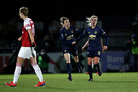 Mollie Green of Manchester Utd (R) scores the first goal for her team and celebrates during Arsenal Women vs Manchester United Women, FA WSL Continental Tyres Cup Football at Meadow Park on 7th February 2019