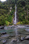 The 96m high Thunder Creek Falls in the Haast Pass on the south island of New Zealand