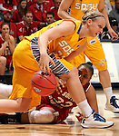 SIOUX FALLS, SD - MARCH 12:  Polly Harrington #33 from the University of South Dakota battles for the loose ball with Leah Dietel #21 from South Dakota State University in the second half of the 2013 Women's Summit League Championship Game on Tuesday afternoon at the Sioux Falls Arena. (Photo by Dave Eggen/Inertia)