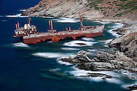 The shipwreck near Vori in Andros island, Greece