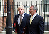 Cabinet meeting arrivals <br /> 10 Downing Street London Great Britain <br /> 25th October 2016 <br /> <br /> Boris Johnson and Liam Fox leave Downing Street <br /> <br /> Photograph by Elliott Franks <br /> Image licensed to Elliott Franks Photography Services