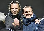 2018-02-17 / voetbal / seizoen 2017-2018 / Oosterzonen - Berchem / Coach Kevin Van Haesendonck (r) (Berchem) viert de overwinning tegen Oosterzonen samen met Lars Knipping (l) (Berchem)