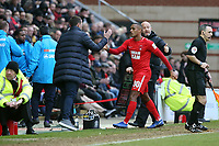 O's Jay Simpson getting subbed with Justin Edinburgh during Leyton Orient vs Maidenhead United, Vanarama National League Football at The Breyer Group Stadium on 16th February 2019