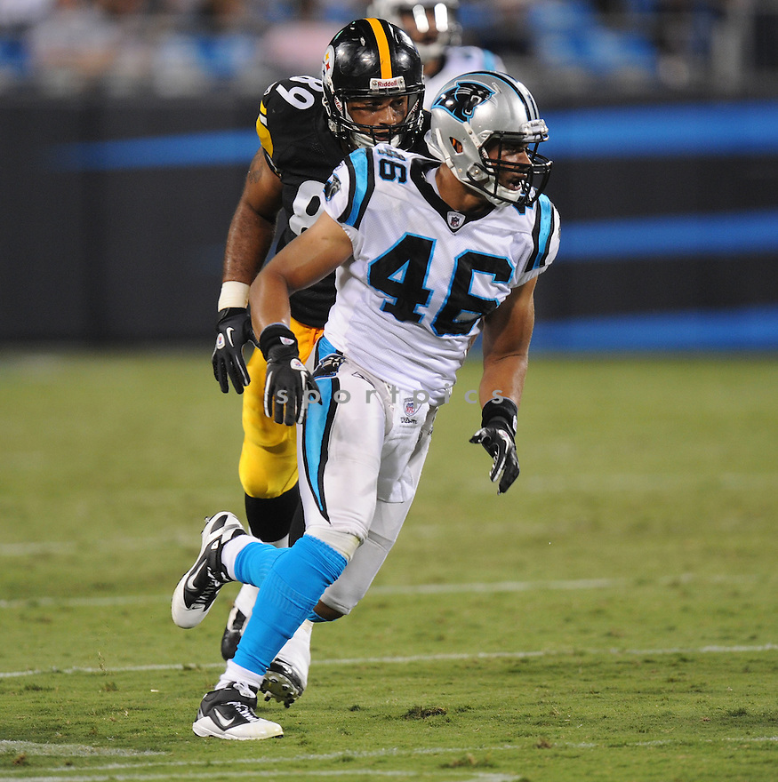 THOMAS WILLIAMS, of the Carolina Panthers, in action during the Panthers game against the Pittsburgh Steelers on September 1, 2011 at Bank of America Stadium in Charlotte, NC. The Steelers beat the Panthers 33-17.