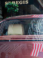The bespoke 2013 Bentley Mulsanne sedan parked outside the St Regis Hotel in New York