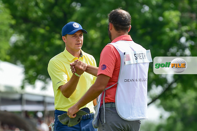Jordan Spieth (USA) and caddie, Michael Greller shake hands after round 4 of the Dean &amp; Deluca Invitational, at The Colonial, Ft. Worth, Texas, USA. 5/28/2017.<br /> Picture: Golffile | Ken Murray<br /> <br /> <br /> All photo usage must carry mandatory copyright credit (&copy; Golffile | Ken Murray)