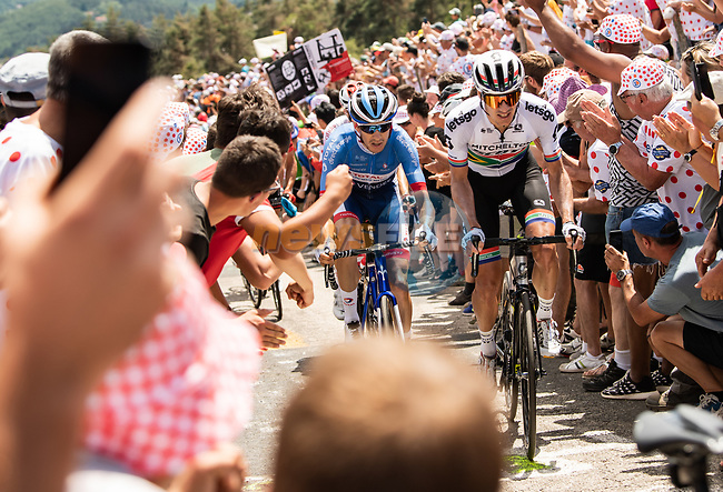 Daryl Impey (RSA) Mitchelton-Scott and Romain Sicard (FRA) Total Direct Energie from the breakaway climb the Cote de Saint-Just during Stage 9 of the 2019 Tour de France running 170.5km from Saint-Etienne to Brioude, France. 14th July 2019.<br /> Picture: ASO/Alex Broadway | Cyclefile<br /> All photos usage must carry mandatory copyright credit (© Cyclefile | ASO/Alex Broadway)