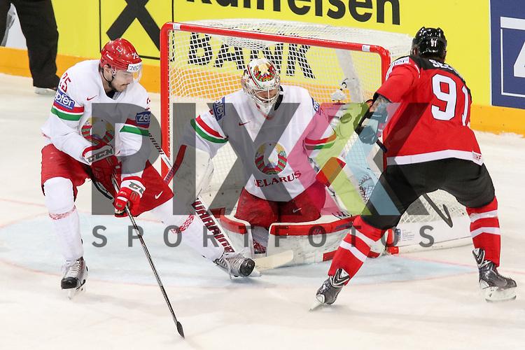 Belarus Yevenko, Oleg (Nr.25)(Adirondack Flames) kommt zu spaet, Belarus Lalande, Kevin (Nr.35)(CSKA Moscow) kann das Tor von Canadas Duchene, Matt (Nr.9) nicht mehr verhindern im Spiel IIHF WC15 Canada vs. Belarus<br /> <br /> Foto &copy; P-I-X.org *** Foto ist honorarpflichtig! *** Auf Anfrage in hoeherer Qualitaet/Aufloesung. Belegexemplar erbeten. Veroeffentlichung ausschliesslich fuer journalistisch-publizistische Zwecke. For editorial use only.
