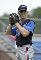 July 31, 2004:  Pitcher David Trahan of the Vermont Expos during a game at Russell Diethrick Park in Jamestown, NY.  Vermont is the Short Season Single-A NY-Penn League affiliate of the Montreal Expos (Washington Nationals).  Photo By Mike Janes/Four Seam Images