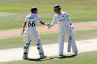 Jake Libby (R) of Notts is congratulated on reaching his fifty by Billy Root during Essex CCC vs Nottinghamshire CCC, Specsavers County Championship Division 1 Cricket at The Cloudfm County Ground on 22nd June 2018
