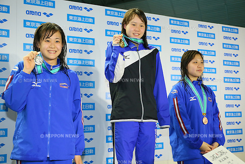 (L to R) <br /> Ayaka Takayama, <br /> Shion Sakaguchi, <br /> Ayane Ishii, <br /> MARCH 29, 2015 - Swimming : <br /> The 37th JOC Junior Olympic Cup <br /> Women's 50m Butterfly <br /> 15-16 years old award ceremony <br /> at Tatsumi International Swimming Pool, Tokyo, Japan. <br /> (Photo by YUTAKA/AFLO SPORT)