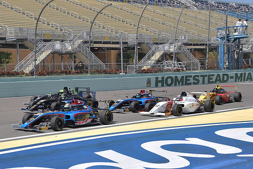2017 F4 US Championship<br /> Rounds 1-2-3<br /> Homestead-Miami Speedway, Homestead, FL USA<br /> Sunday 9 April 2017<br /> Mad scramble for postion heading into turn one with #26 Sam Paley heading the pack of cars<br /> World Copyright: Dan R. Boyd/LAT Images