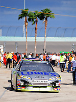 Nov. 15, 2008; Homestead, FL, USA; NASCAR Sprint Cup Series driver Jimmie Johnson during practice for the Ford 400 at Homestead Miami Speedway. Mandatory Credit: Mark J. Rebilas-
