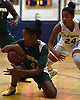 Bryanna Picton #14 of Longwood, left, shields the ball on the ground from Elena Randolph #24 of Baldwin during the Chanee Monique Brown Memorial Tournament at Baldwin High School on Friday, Dec. 28, 2018. Baldwin won by a score of 56-47.
