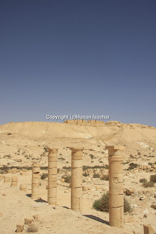 Israel, Negev, remains of a Byzantine church at the foothill of Tel Nitzana