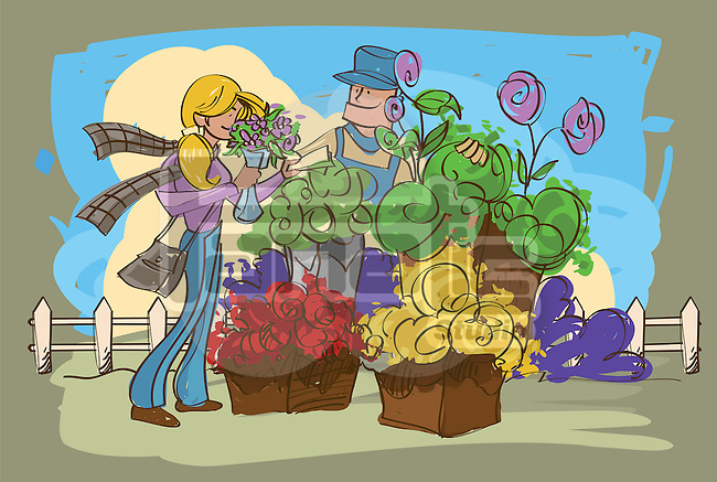 Female florist giving a bouquet of flowers to a customer