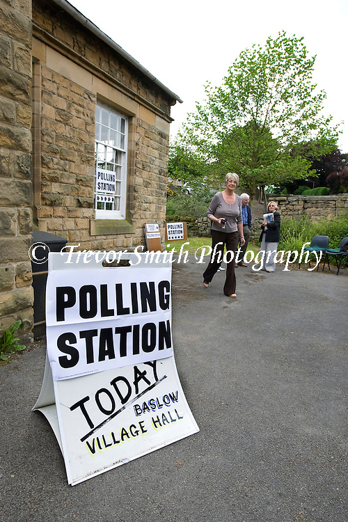 A  rural Polling Station in the Peak District village of Baslow in Derbyshire