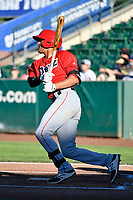 Ryan Vega (21) of the Orem Owlz bats against the Ogden Raptors in Pioneer League action at Lindquist Field on June 22, 2017 in Ogden, Utah. The Owlz defeated the Raptors 13-8.  (Stephen Smith/Four Seam Images)