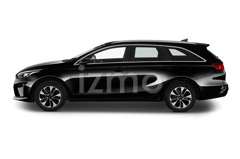 Car Driver side profile view of a 2020 KIA Ceed-SW-PHEV Business-Line 5 Door Wagon Side View