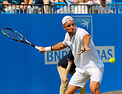June 19th 2017, Queens Club, West Kensington, London; Aegon Tennis Championships, Day 1; Steve Darcis (BEL) hits a forehand during his singles match against number seven seed Tomas Berdych (CZE); Berdych won in straight sets