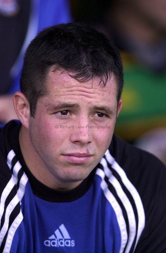 Photo. Richard Lane. .Northampton v Bath. Zurich Premiership. 23/9/2000.Gareth Cooper sits out the start of a game again.