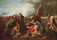 September 13 1759- James Wolfe death (painting by Benjamin West)<br /> <br /> Major General James Peter Wolfe (3 January 1727 – 13 September 1759) was a British Army officer, known for his training reforms but remembered chiefly for his victory over the French at the Battle of Quebec in Canada in 1759.