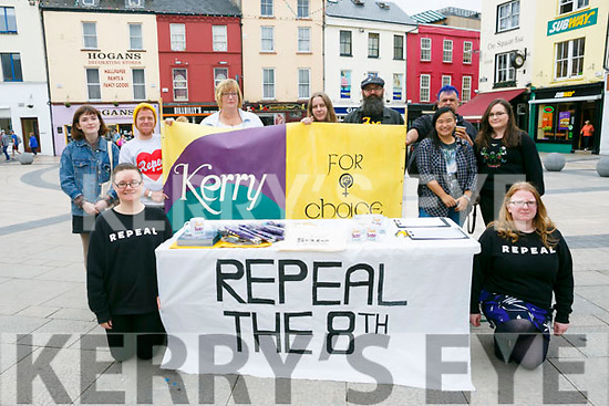 Kerry for Choice Campaign Abortion Rights Roadshow in Tralee Square on Saturday. Pictured front l-r Roesia Foley, Paula Dennan Back l-r Elly Phelan, Albha Foley, Lisa Edwards, finula starsfield, Paul Bowler, Baol Ober Tucci, Una-Minh Kavanagh, Ciara Kenny