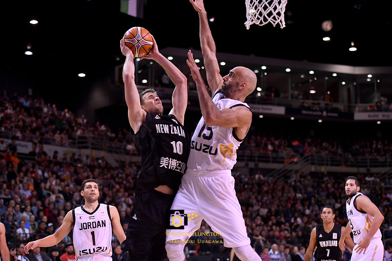 New Zealand Tall Blacks&rsquo; Tom Abercromble and Jordan&rsquo;s Zaid Abbas in action during the FIBA World Cup Basketball Qualifier - NZ Tall Blacks v Jordan at Horncastle Arena, Christchurch, New Zealand on Thursday 29 November  2018. <br /> Photo by Masanori Udagawa. <br /> www.photowellington.photoshelter.com