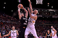 New Zealand Tall Blacks' Tom Abercromble and Jordan's Zaid Abbas in action during the FIBA World Cup Basketball Qualifier - NZ Tall Blacks v Jordan at Horncastle Arena, Christchurch, New Zealand on Thursday 29 November  2018. <br /> Photo by Masanori Udagawa. <br /> www.photowellington.photoshelter.com